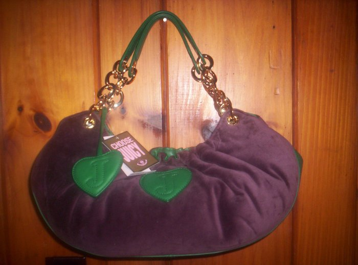 JUICY COUTURE BABY FLUFFY BAG PLUM & GREEN NWT