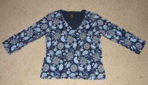 Womens The Limited Stretch Blue Paisley Shirt sz M EUC