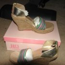 NEW w/box Womens JLO Multi-Colored Gold Striped Woven Sandals sz 8.5