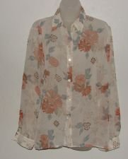 Womens Alfred Dunner Sheer Floral Print Button Front Shirt sz 8