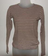 Womens Old Navy Brown/White Striped LS Shirt sz XS