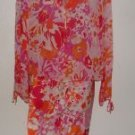 Womens 2-pc Express Bold Floral Print Silk Outfit/Skirt Set sz Medium 7/8