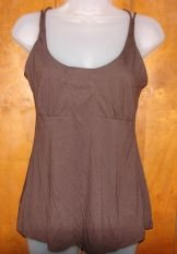 Womens Moda International Brown Babydoll Tank w/Bra Medium