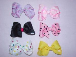 custom made hair bows, set of 6