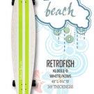 Longboard - RetroFish Tail Beach Board - White/Kiwi KL0011-0