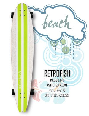 Longboard - RetroFish Tail Beach Board - White/Kiwi KL0011-0