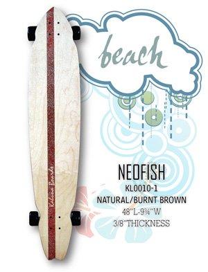Longboard - NeoFish Tail Beach Board - Natural/Burnt Brown KL0010-1