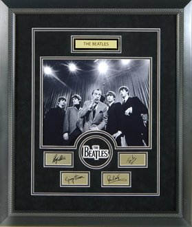 BEATLES CUSTOM FRAMED ENGRAVED SIGNATURES COLLAGE
