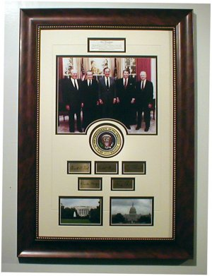 5-Presidents Custom framed Collage with engraved signatures