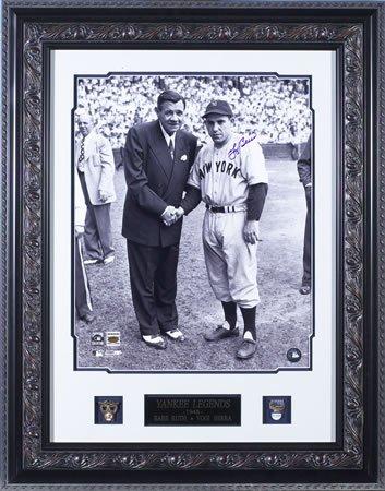 Yogi Berra - Babe Ruth Hand - Signed 16x20 Framed Photograph