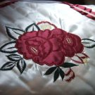 Burgundy Roses Bedspread and Four Shams Floral Embroidered