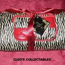 Cosmetic Bags Set Zebra Stripes and Burgundy