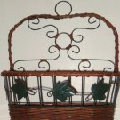 Grape Leaves Tuscan Wall Basket