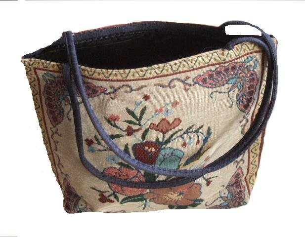 Floral Tapestry Tote Purse or Beach Bag with Butterflies