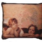 Black Tapestry Angels Decorative Toss Pillow