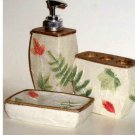 Leaves Ferns Bath Accessories Set Soap Dish Dispenser Toothbrush Holder