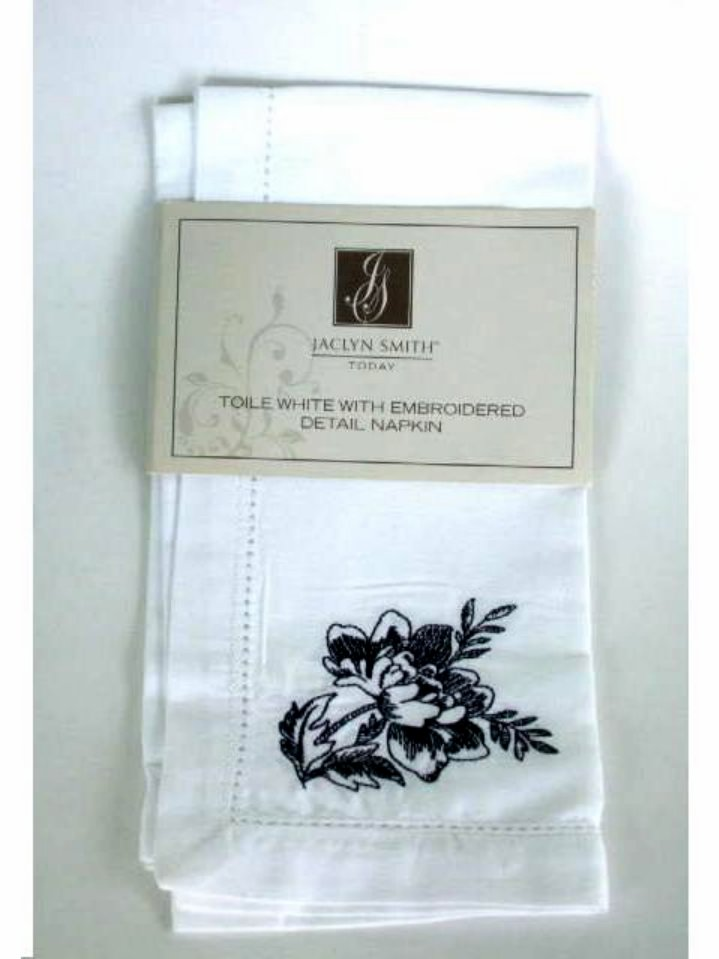 Ivory Hemstitch Napkins Black Embrodered Flowers
