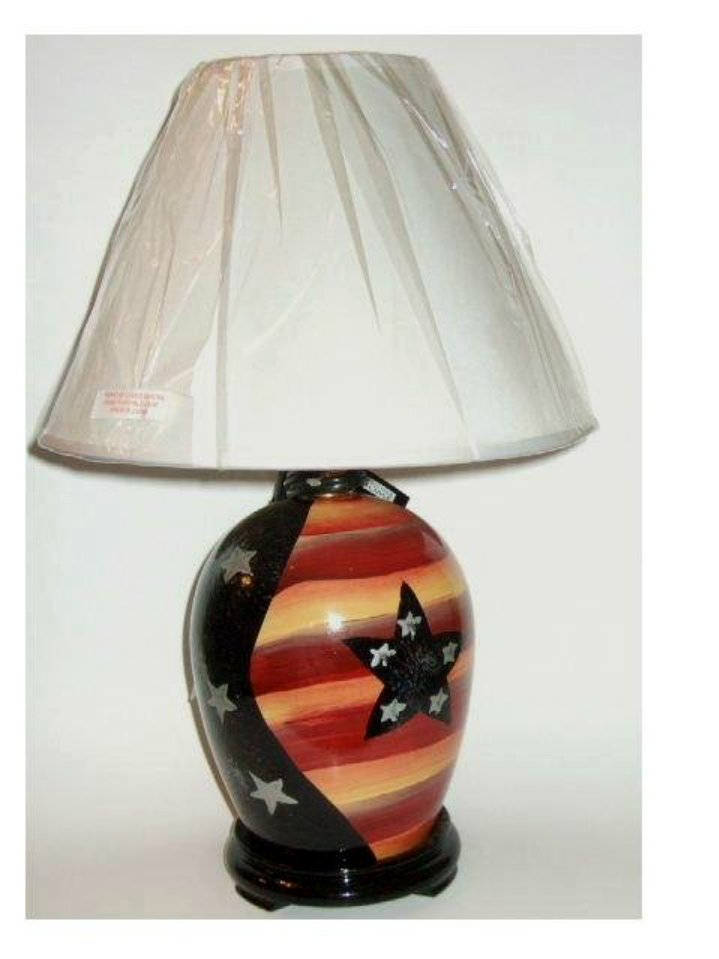 Black Stars Stripes Patriotic Table Lamp and Shade