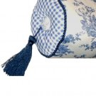Blue Toile Neck Roll Pillow Floral Gingham