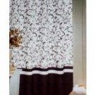 Popular Bath Bon Jour Shower Curtain White Black Scroll