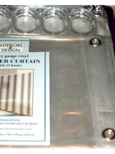Clear Shower Curtain Liner Heavy Gauge Vinyl With Rings