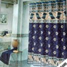 Gothic Marble Fabric Shower Curtain Navy