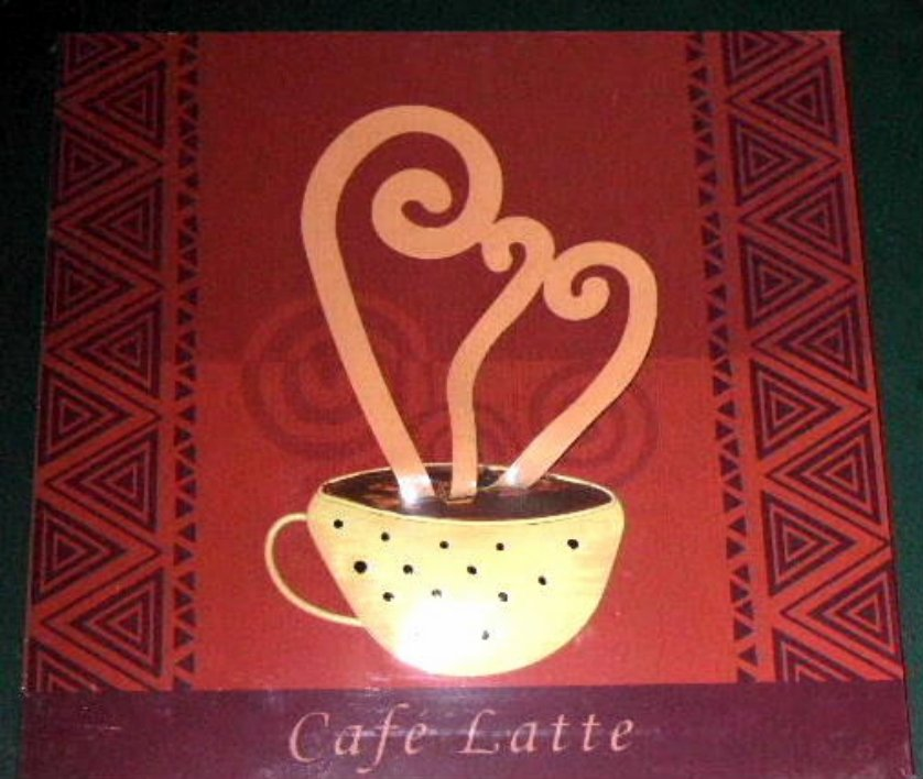 Cafe latte wall decor coffee cup wood and metal plaque for Cafe latte decor