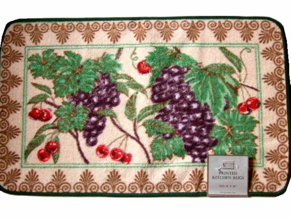 Grapes Cherries Fruit Themed Kitchen Rug