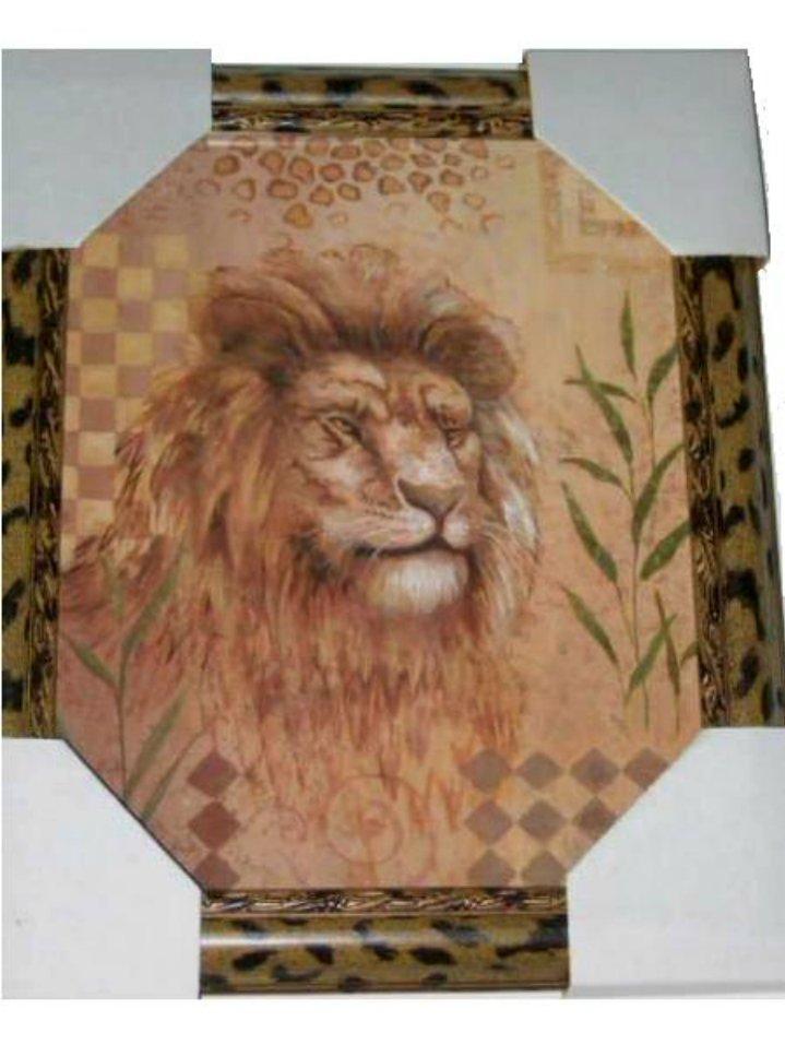 lion picture in leopard print frame african safari decor. Black Bedroom Furniture Sets. Home Design Ideas
