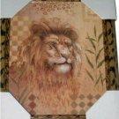Lion Picture in Leopard Print Frame African Safari Decor