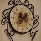 Grapes Black Metal Mantel or Wall Clock