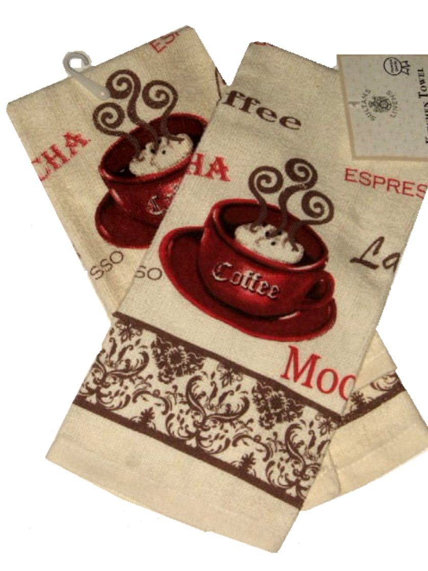 Espresso Latte Mocha Coffee Themed Kitchen Towels