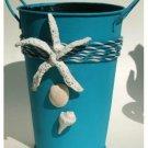 Nautical Seashells Turquoise Metal Utensil Holder