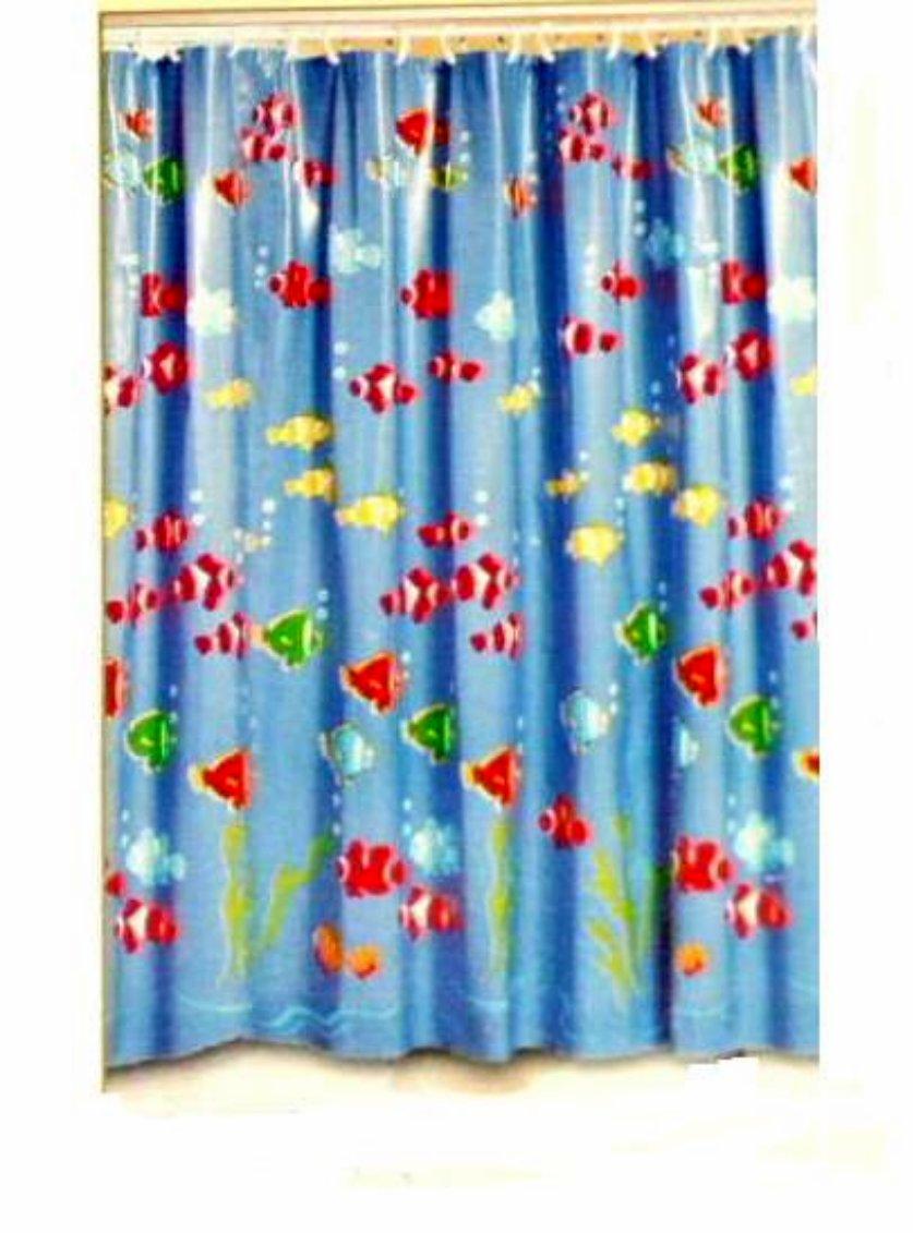 Blue Tropical Fish Shower Curtain Beach Bath Decor