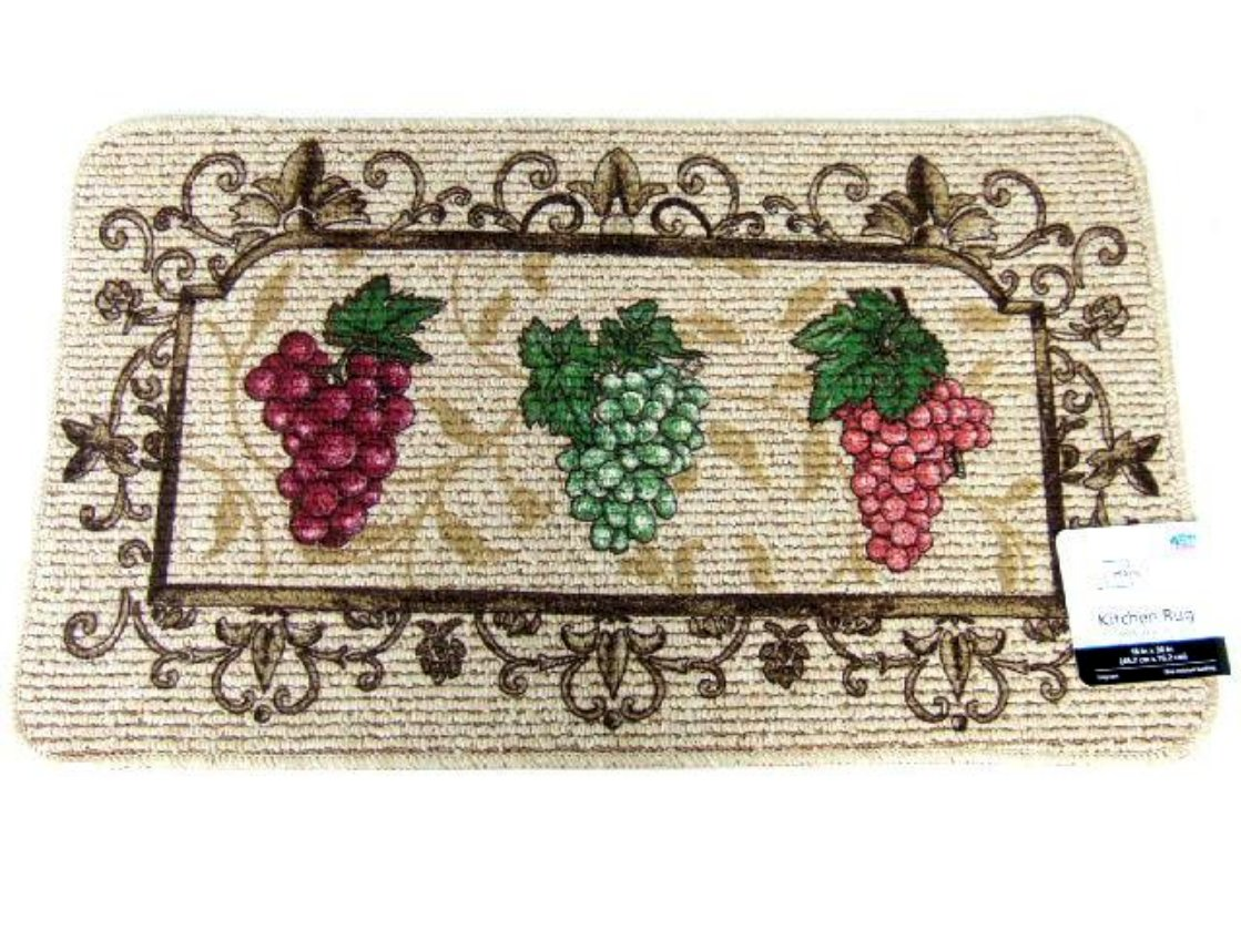 Grape Themed Kitchen Rug Burgundy Green Grapes