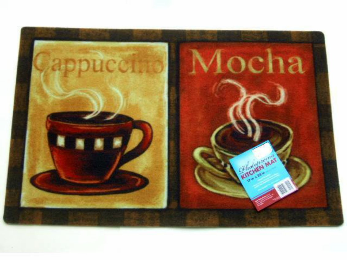Coffee Cups Kitchen Rug Cappuccino Mocha Mat