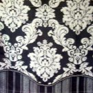 Navy Gray Damask Herringbone Valance Jaclyn Smith