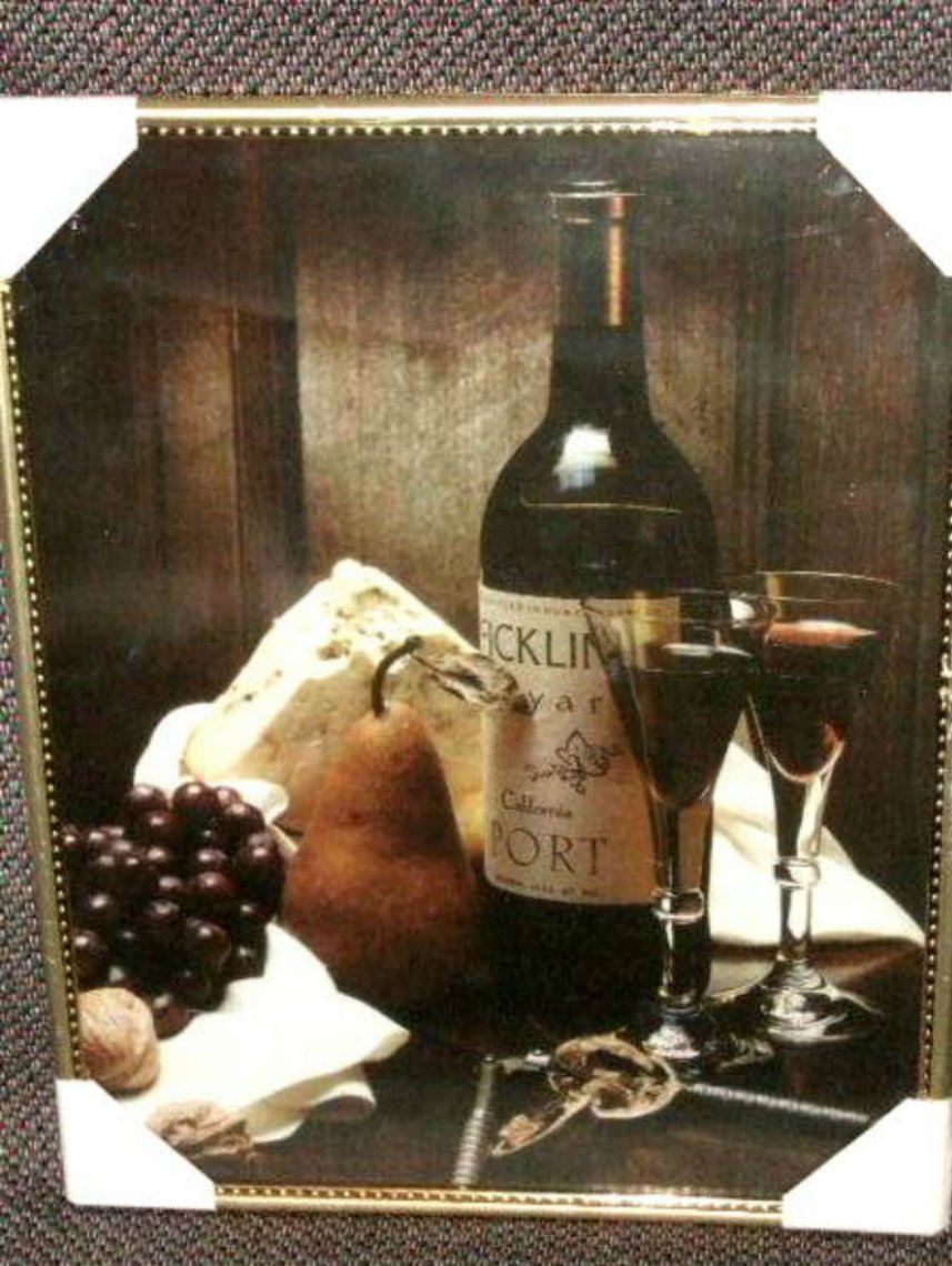 Tuscan Wine Framed Print with Grapes and Cheese