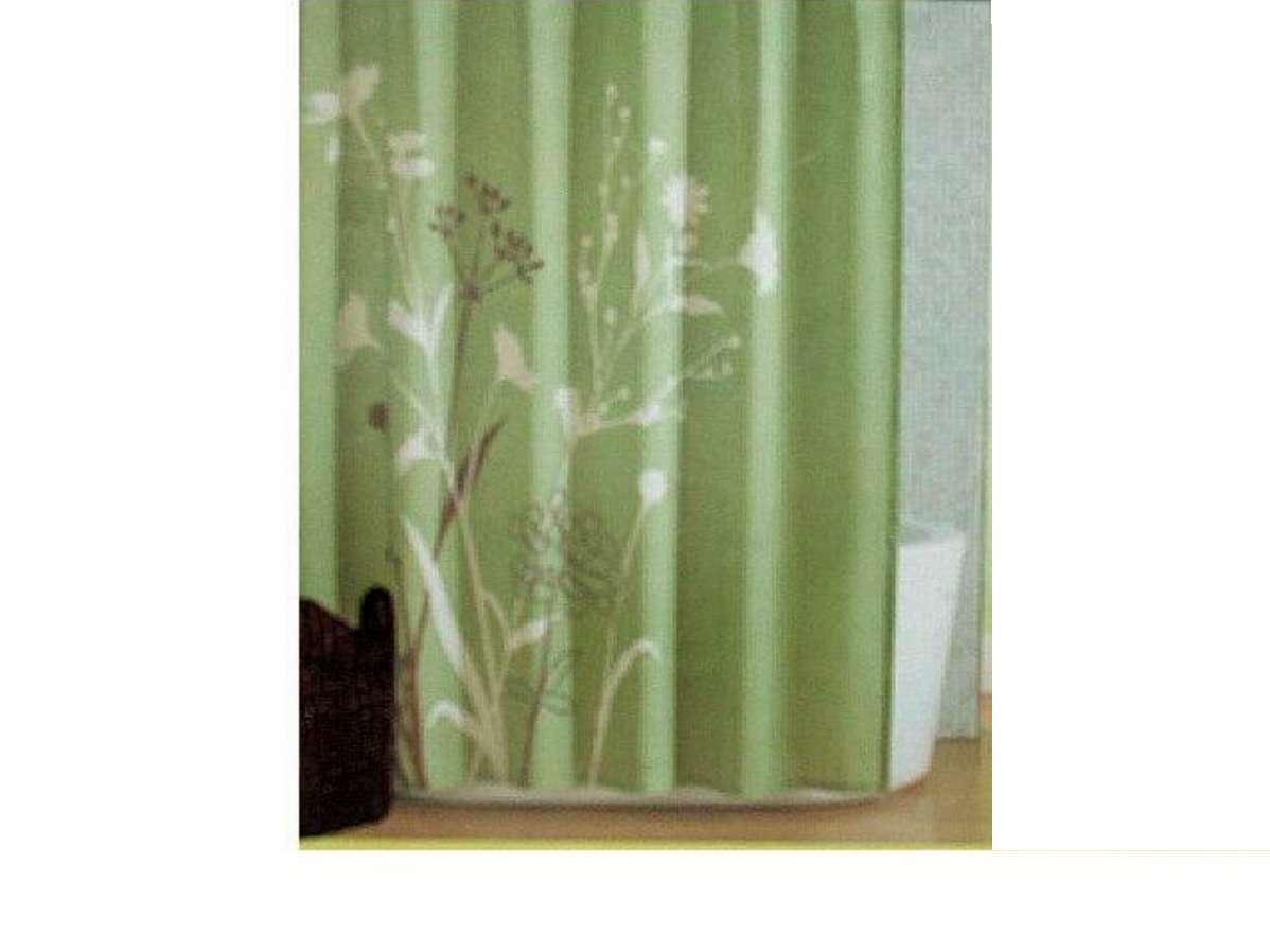 Green Floral Fabric Shower Curtain Marmon