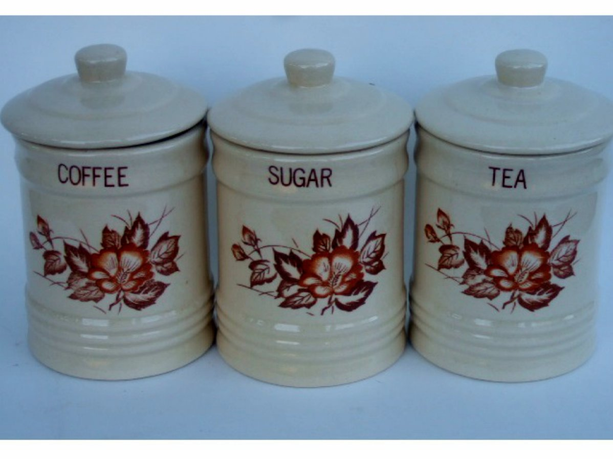 retro floral ceramic canister set