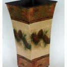 Pinecones Vase Rustic Metal Container