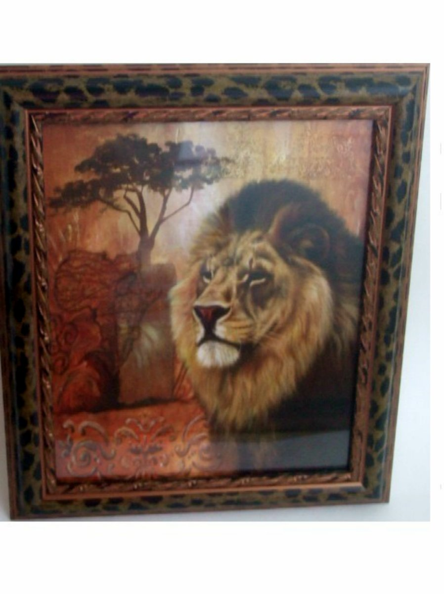 Lion Print in Leopard Print Frame African Wall Decor