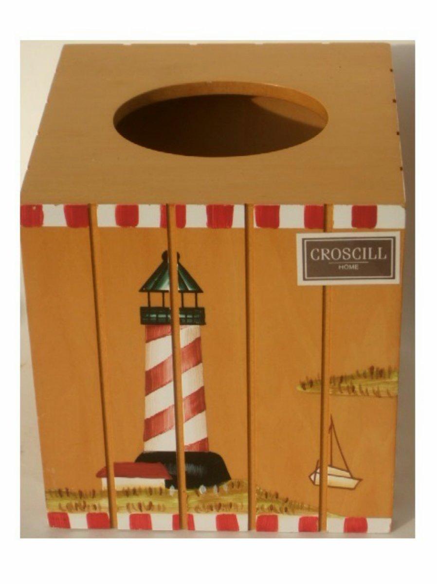 Croscill Harbor Lights Lighthouse Tissue Box Cover