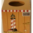 Croscill Harbor Lights Lighthouse Tissue Box Cover