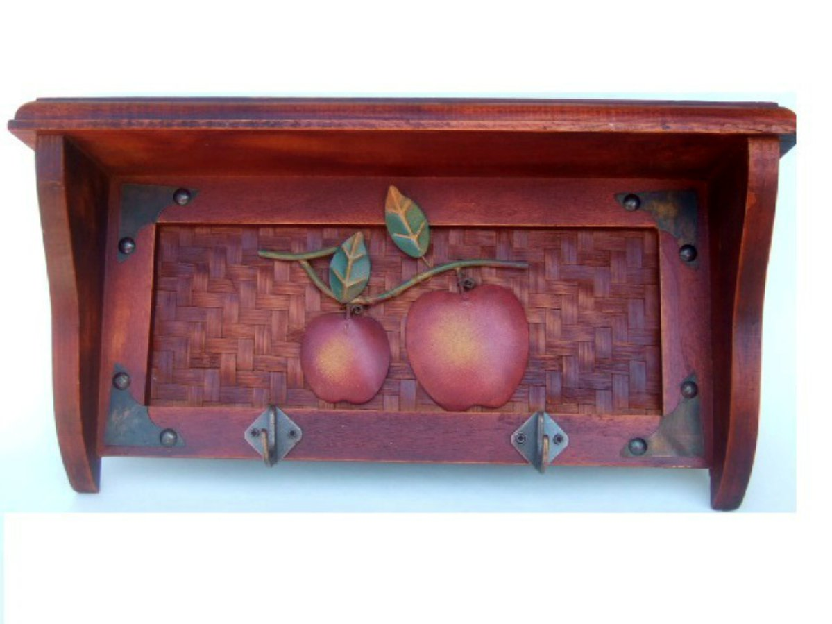 Apples Wood Wall Shelf