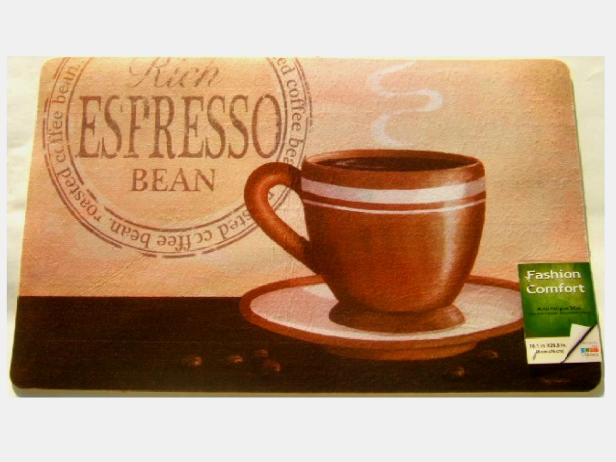 Espresso Coffee Themed Kitchen Rug Coffee Cup Cushion Mat
