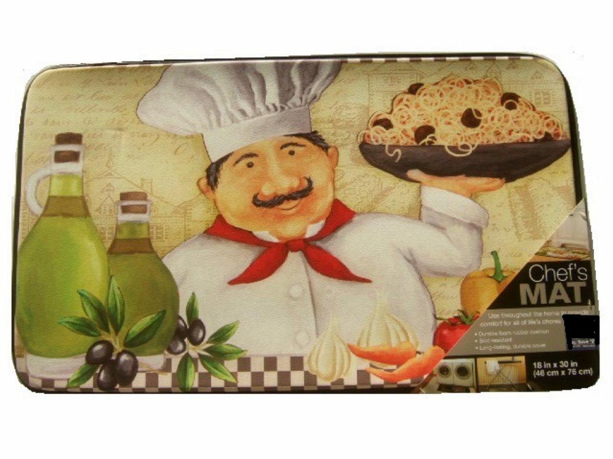 fat italian chef spaghetti kitchen comfort rug