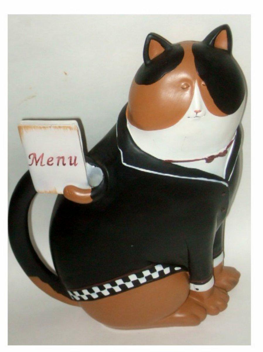 Cat in Tuxedo Waiter Statue with Menu Kitchen Figurine