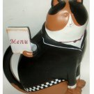 Cat in Tuxedo Waiter Statue with Menu Kitchen Figurine