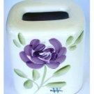 Floral Ceramic Tissue Box Cover Purple Flowers